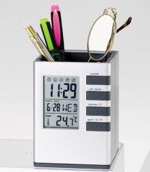 مقياس حرارة ساعة المنبّه لشاشة LCD لحامل قلم قلم مكتب رقمي لـ مكتب المنزل بالجملة