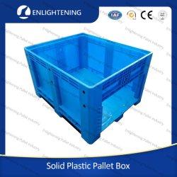 Robuste 606L große Lager Bulk Storage Industrie solide starre Stapelbarer Kunststoffbehälter aus HDPE für Lebensmittelqualität mit Seitentür