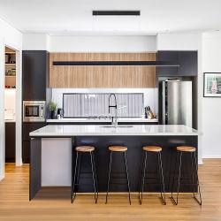 現代写真黒モジュラー木製のキッチンキャビネット家具の映像 カスタマイズされた完全なセットの台所キャビネット設計