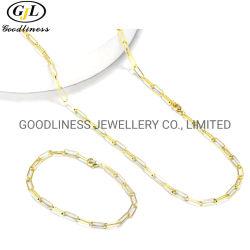 新しい方法真鍮の銀製のペーパークリップのがっしりしたチェーンチョークバルブのネックレスの平野の長方形の鎖のネックレス