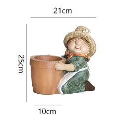 Factory Wholesales Polyresin Escultura Gnome Maceta de resina artesanal para decoración de jardín