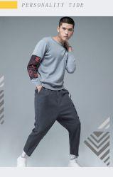 Maglietta lunga dei manicotti del Knit degli uomini freddi di stampa allentata alla moda moderna d'avanguardia di modo