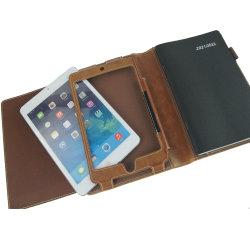L'iPad Mini 2/4/5 cas Housse en cuir marron avec sangle élastique de fermeture