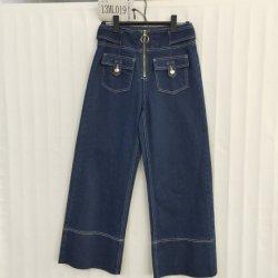 Azul escuro meados de Cintura Wide-Leg para senhoras Jeans