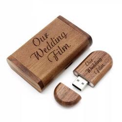 2 GB 4 GB 8 GB Maple madeira de nogueira Unidade USB Flash Memory Laser de madeira o logotipo personalizado Box