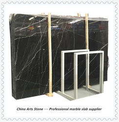 China Nero Marquina pedra mármore negro de lado a lado e laje de bancada