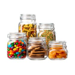 Scatole metalliche di vetro libere della cucina e vasi d'inscatolamento con i coperchi di vetro liberi chiusi ermeticamente della guarnizione & della barra