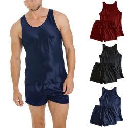 Mens tache de la soie Pyjama Pajama hommes sexy Jeu de réservoir sans manches mini shorts Soft Louge Robe Robe de nuit Vêtements de nuit Tops