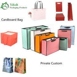 Lujo biodegradable 250 GSM fino papel cartón blanco bolsos de embalaje Compras Tote con asas bolsa de regalo