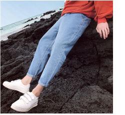 Los pies de la gente de Perth hombres Light-Colored vaqueros Slim Casual de verano los pantalones