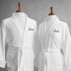 El lujo de alta calidad de terciopelo de algodón/Terry Logotipo bordado parejas Albornoz