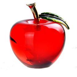 """2.2 """" 결혼식 홈 Christamas 훈장 선물 기념품 기술 호의 (2128R, 2128Y, 2128G)를 위한 빨간 황록색 Apple 문진 손 K9 광학 유리 결정"""