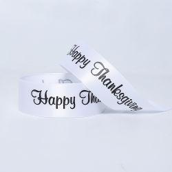 Blanco satinado Riband con la impresión de que están ajustadas Thanksgiving Day