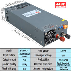 S-1800-24V Adjustable Voltage High LED DC Switching Power Supply 1800W AC에 DC 24V 75A