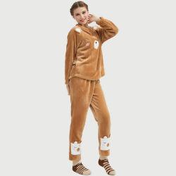 Le signore più il formato pigiami animali di Homewear degli indumenti da notte dell'orso del ricamo del panno morbido della flanella dei pigiami delle 2 parti hanno impostato per le donne