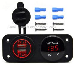 防水12~24Vオートバイ車二重USB車の充電器のアダプター+赤いLEDの電圧計