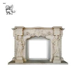 Le français de luxe de style décoratif matériau ignifugé cheminée en marbre artificiel Mfm-38