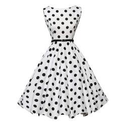 06 punto negro blanco damas moda diario de Prom vestido de fiesta de cumpleaños