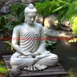 庭の装飾の卸し売りMbsd-01のための純粋で白い石造りの大理石の着席の仏の彫像