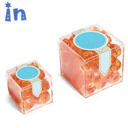 Comercio al por mayor los pequeños elementos de la boda de plástico transparente cubo de la caja de caramelos de acrílico