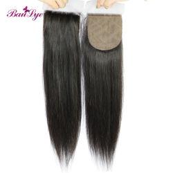 Прямой черного цвета волос человека Extension 4*4 шелк базы кружева закрытие необработанные Virgin бразильского волосы оптовой 100 Реми волос