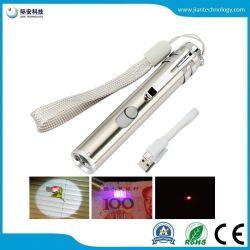 Trois multifonction-en-un RECHARGEABLE USB Moon Light UV/lumière blanche Medical Mini Lampe torche