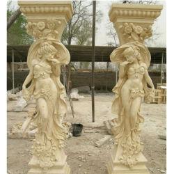 Berufshand, die Haus-Marmorpfosten mit Frauen-Abbildung Skulptur schnitzt