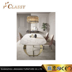 Уникальный дизайн металлической раме столовая мебель в мраморным верхней части обеденный стол