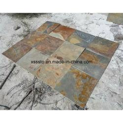 China Cheapest oxidada pizarra piedra Baldosas para pavimentación