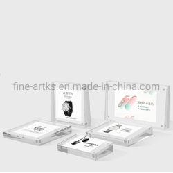 Sobremesa personalizado reloj magnético signo móvil acrílico Placa de señal de precios Soporte Soporte