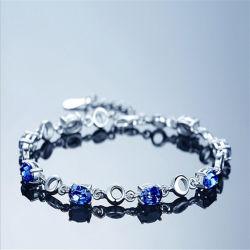De Armband van de Ketting van de Koreaanse Vrouwen van de Charme van de Manier van de Armband van het Kristal van de Partij van de Giften van de Juwelen van de Stijl Vrouwelijke Blauwe S925