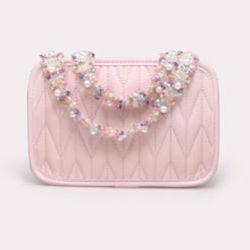 귀여운 핑크 쉬프스킨 여성용 핸드백 프렌치 스몰 크라우드 백 2021 새 메신저 백 펄 광대역 폴드 카메라 백