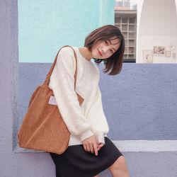 Corduroy Shopbag voor dames Canvas Cloth Schoudertas Environmental Opslag Handtas herbruikbaar opvouwbare Eco-kruidenierswinkel Tates