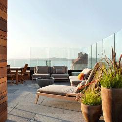 Barandilla de vidrio sin cerco U de aluminio Canal de la base para el Balcón de diseño de baranda de vidrio