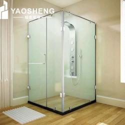 Frameloos helder vlak getemperd badkamerpartitieglas voor douchebehuizingen