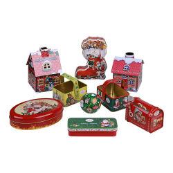 أوكازيون ساخن شكل بيضاوي الشوكولاته صندوق التين لعيد الميلاد بسكويت صندوق القصدير
