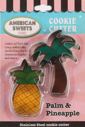 2-PC Palm y piña Cookie Cutter con ampollas Pack