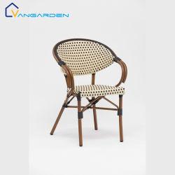 Finition en aluminium en bois extérieur Chaise bistro français d'osier rotin