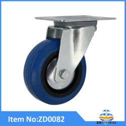 6 pulgadas de altas prestaciones industriales Castor muebles ruedas de goma azul rueda sin freno
