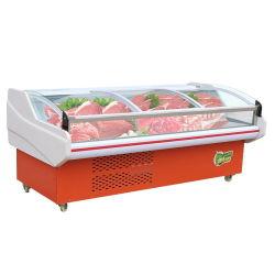 슈퍼마켓 상업적인 수평한 냉각장치 고기 해산물을%s 신선한 유지 내각 편평한 오프닝 아크 냉장고