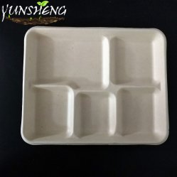 La bagasse blanc jetables ou brun pâle Fibre de bambou papier Bacs carrés ou ronds avec 2, 3, 5 compartiments pour le dîner