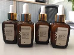 De lege Fles van de Essentiële Oliën van de Fles van Aromatherapy van het Glas Vierkante Amber met Druppelaar Gouden GLB