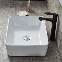카운터 화이트 세라믹 욕실 싱크대 위의 현대적인 도자기, 화장용 세면대 세척용 세면대