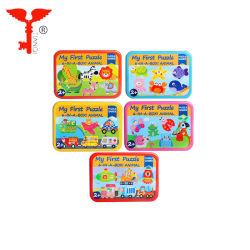 おもちゃを学んでいるMontessori 6 1ボックス幼稚園はゲームの鉄ボックスジグソーパズルの子供の困惑を困惑させる