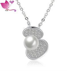 Gargantilla claro Zircon White Pearl Necklace juegos de joyería de plata de ley 925