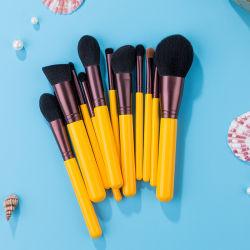 OEM viagens portátil Makeup Ajuste da Escova alça amarela pêlo preto escovas de cosméticos