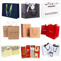 Luxe personnalisé recyclé papier kraft de mode d'emballage cadeau d'impression Bijoux Sac shopping cosmétique de promotion de l'emballage pour vêtements chaussures parfum de vin de Noël