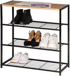 Banc de chaussures, de chaussures Rack, avec le siège du Cabinet du caisson de zone, Rack, organisateur du caisson de banc de chaussures avec des étagères pour plus de paires de chaussures, bois et métal
