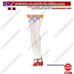 Calze bianche di ballo dei calzini del banco con i regali di natale dell'arco del percalle (C5108)