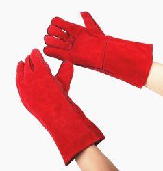 Het rode Werken van de Veiligheid van het Leer van de Koe van de Handschoenen van het Werk van het Lassen Gespleten
